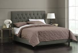 The stylish Skyline tufted bed with velvet upholstery