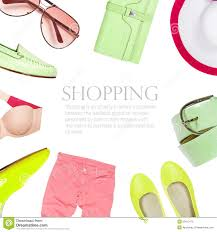 collage collection of summer clothes stock illustration image