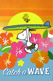 Charlie Brown Christmas Tree Quotes by Snoopy Running Into The Surf Holding Surfboard Over His Head With