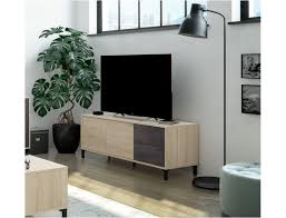 wohnzimmer tv 130 cm oxid und kanadische eiche mit 2 türen und 2 schubladen farbe oxid und eiche canadian