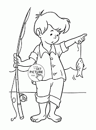 Little Fisherman Coloring Page For Kids Seasons Pages