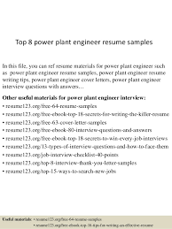 Top 8 Power Plant Engineer Resume Samples In This File You Can Ref Materials