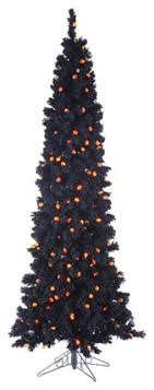 65 Pre Lit Black Flocked Artificial Halloween Tree Orange G25 Led Lights