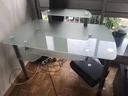 bureau ordinateur en verre bureau en verre fly bureau turbo en verre trempe noir achat et