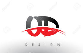 OD O D Brush Logo Letters Design With Red And Black Colors And