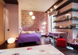 Comfortable And Wonderful Bedroom Design For Young Women With Purple Linen Simple Wall Shelving