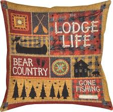 Rustic Lodge Weather Resistant Pillow This Cabin Theme Throw Features And Wilderness