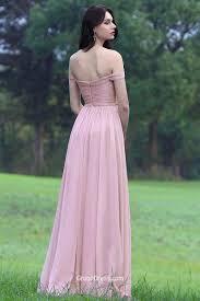 rose pink off shoulder ruched a line sash long chiffon prom dress