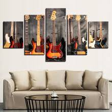 Canvas Paintings Modular Wall Art Prints Framework 5 Pieces Bass Guitar Collage Pictures Music Poster For Living Room Home Decor