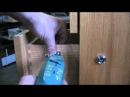 Magnetic Lock Kit For Cabinets by Install Simple Plunger Lock On Wood Drawer Of Filing Cabinet Youtube