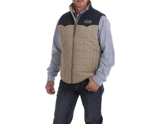 Cinch Western Vest Mens Wax Coated Quilted MWV1096002 Multi-color