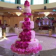 orchid petal wedding cake in pink and white
