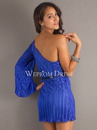 belt brooch pleated long sleeve one shoulder royal blue taffeta a