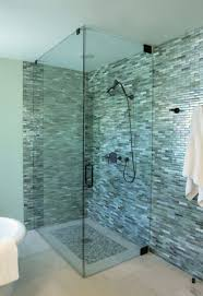 tiles glass shower with graceful blue and green plaid blue