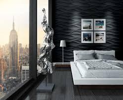 schlafzimmer wand mit 3d wandpaneele aus gips gestal