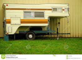 Truck Bed Camper With Wall And Grass Stock Photo - Image Of ...