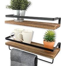 azano schweberegal wandregal küchenregal aus holz und metall schwarz ideal für küche badezimmer flur wohnzimmer mit handtuchhalter industrial