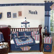 Fancy Nautical Themes Baby Boy Room Ideas With Blue Cover Bed