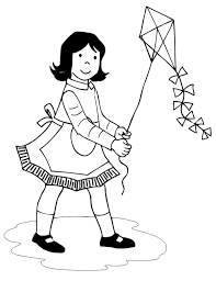 3 Kite Coloring Pages Girl With Apron Flying Page