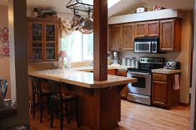 Kitchen Entrancing U Shape Before And After Remodels Decoration Using Cherry Wood Cabinet