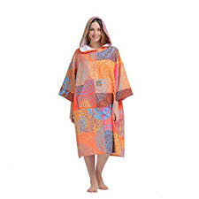 HITURBO Womens Beach Surfing Swimming Robe Light Weight Wetsuit Changing Towel Poncho With Hood