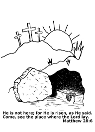 Easter Coloring Page For Children Picture Of The Empty Tomb Jesus Christ With A