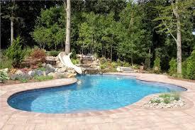 24 X 35 Free Form Gunite Pool With Custom Bench Slate Tile And Big Ride Slide