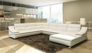 deco in canape d angle en cuir blanc et noir design roxane