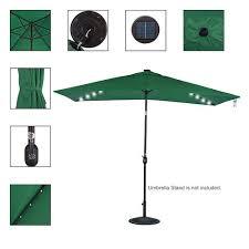 Solar Lighted Rectangular Patio Umbrella by Solar Powered 22 Led Lighted Outdoor Patio Umbrella Dark Green