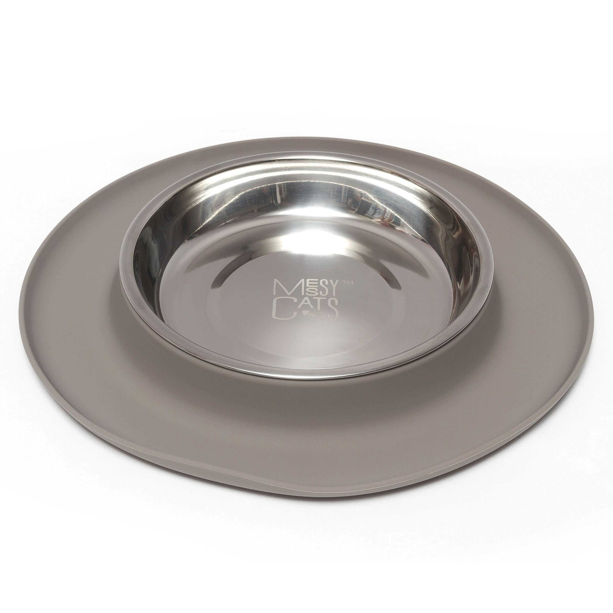 Messy Cats Stainless Steel Cat Feeder - with Non-slip Silicone Base, Gray