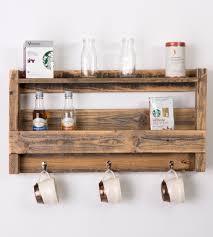 reclaimed wood tea u0026 coffee mug shelf home food u0026 drink del