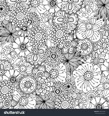Hand Drawn Zentangle Doodle Illustration For Adult Coloring Books In Vector Unique Lacy Floral Doodles