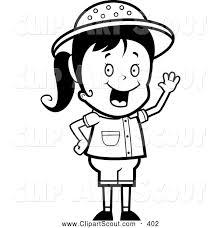 Clipart of a Black and White Happy Safari Girl Waving