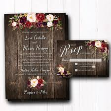 Rustic Burgundy Wedding Invitation