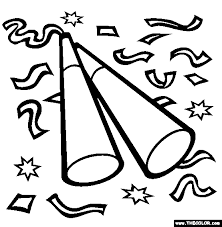 New Year Champagne Confetti Coloring Page