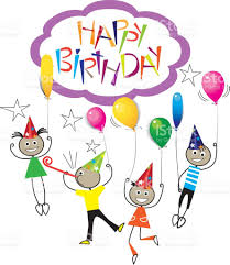 drawing image of stick figure kids on birthday hand draw lettering happy birthday design