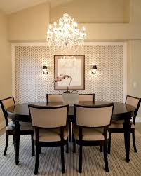 Light Transitional Dining Room Using Crystal Chandelier And From For