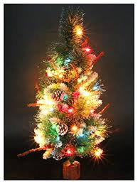 CASACLAUSI Artificial Christmas Tree On Wood Base With Ornaments And Pre Lit Multi Colored
