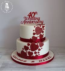 40th Ruby Wedding Anniversary cake White with ruby red cascading