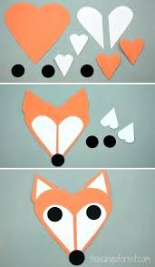 Arts And Crafts With Construction Paper Heart Fox Craft Cute Little Made Of Shapes