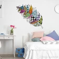 großhandel bunte feder wandaufkleber futter muster kreative selbstklebende tapete poster wohnzimmer schlafzimmer büro wand wandbild kunst grafik