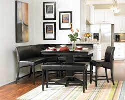 Full Size Of Black Wooden Finished Leg Dark Leather Seat Kitchen Table With Bench Essentials Dining