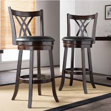 Black Leather Bar Stools by Baxton Studio Bloomfield Black Faux Leather And Dark Brown Wood 2