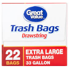 Christmas Tree Trash Bags Walmart by Great Value 33 Gallon Extra Large Drawstring Trash Bags 22 Count