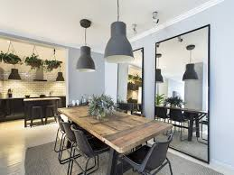 Industrial Style Dining Room Rustic Wooden Table Large Mirrors With Black Surround Gray