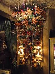 Upside Down Christmas Tree In Cherry Blossoms And Copper Colored Poinsettias