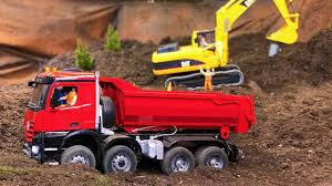100 Red Dump Truck RC BRUDER TOYS Red Dump Truck And Excavator In Action YouTube
