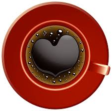 Red Coffee Cup With Heart PNG Clip Art Image