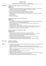 Download Quality Assurance Senior Manager Resume Sample As Image File