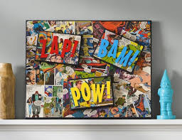 comic book craft diy superhero canvas mod podge rocks